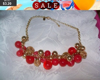 SALE 60% Off Pink and goldtone beaded bib necklace, statement necklace