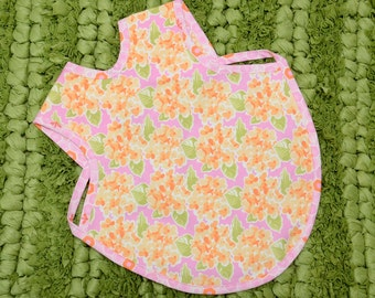 Fancy Girl's Bib - Full Coverage Bib - Dressy Bib - Art Smock - Kid's Apron - Girl's Baby Shower Gift - Reversible Bib - Toddler Bib