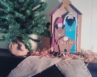 Primitive Nativity Scene Reclaimed Wood Nativity Scene Christmas Holy Family