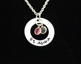 No. 1 Aunt Hand Stamped Necklace with Swarovski Crystal Birthstones