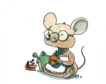 Gardening mouse - Print of my original illustration