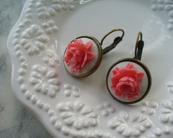 Pink Rose, White Cameo, Floral Earring, Flower Earring, Floral Jewelry, Leverback French Earwires, Vintage Cabbage Rose Style, Rose Flower