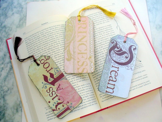 Wood Tag Book Marks, Beautiful Bookmarks, Decoupoge Bookmark, Bookmarker, Paper Bookmark, Book Lover, Ornament, Kiss a Frog, Princess, Dream