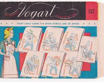 1940s Vogart Chef Transfer Vintage Pattern 137 - Embroidery ORIGINAL