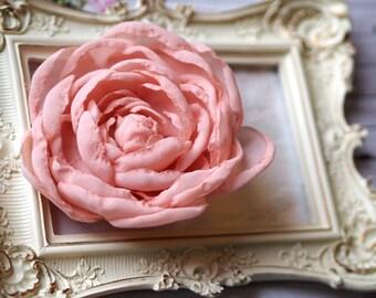 Wedding Hair Clip, Silk Hair accessory, Peach Wedding Hair Accessory, Bohemian Hair Clip, Peach Hair Clip, Blush Pink Bridal Peony