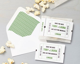 Cinema Green Save The Date with DIY Popcorn Bag