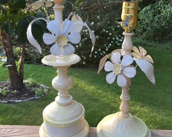 Gorgeous  Pair Italian Tole Table Lamps with Flowers and Leaves Yellow Shabby Chic