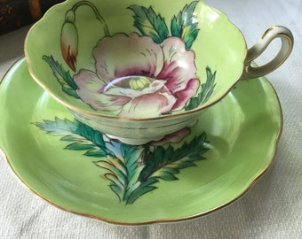 Occupied Japan  Teacup and Saucer  Set Hand Painted Magenta Poppies  on Spring Green