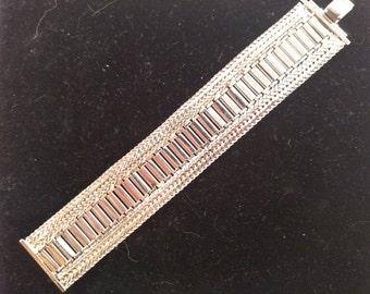 Hobe Silver Tone Wide Bracelet, Mint Condition