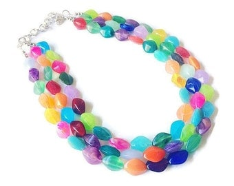Multi-Color Beaded Becklace, Bright Colorful Statement Necklace, Chunky Beaded Necklace, Colorful jewelry, rainbow necklace