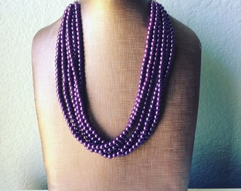 6 strand Grape Statement Necklace - Purple pearl jewelry