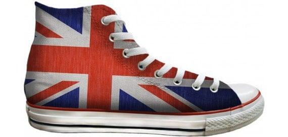Converse Ladies Mens UK Flag Union Jack British Custom Print High Top w/ Swarovski Crystal Rhinestone Chuck Taylor All Star Sneakers Shoes