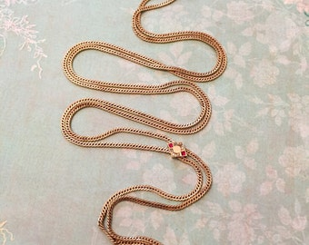 Antique Slide Chain, Gold Filled Longette Rope Chain for Antique Locket, Edwardian Style