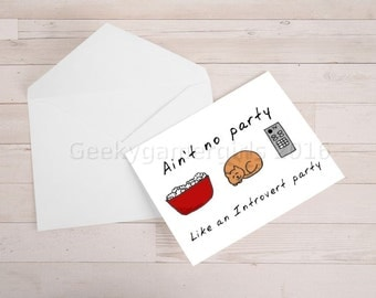 Introvert Party card | Introvert greeting card | Funny introvert card | Hand drawn cat