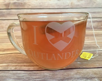 Outlander Mug Double Sided - Outlander Cup - Engraved Outlander Mug - Double Sided - You Pick Back - I heart Outlander mug - Outlander - Mug