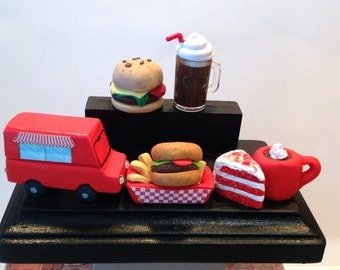 Custom polymer clay food truck card holder,business,restaurant,Deli,food truck business