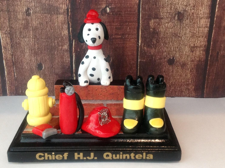 Polymer clay desktop business card holder,handmade,fire fighter,fire ...