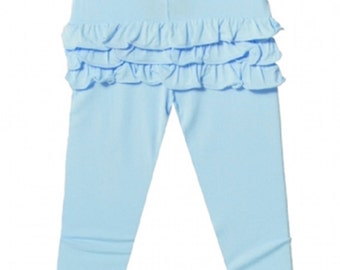 Ruffle Bum Leggings Baby and toddler ruffle bum pants - light blue sky blue