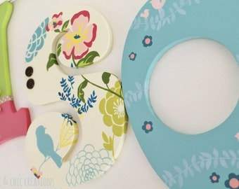 Vintage Floral and Bird Hand Paintined Letters for Nursery, Bedroom, or Party