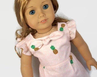 Peach Polka Dot Pineapple Romper - Made to Fit 18 Inch Dolls Like American Girl Doll Clothes - American Doll Clothes
