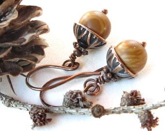 Tan acorn earrings - stone bead & antiqued copper dangles
