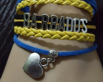 New Barbadian Flag Colors Leather Cord Infinity Love Bracelets