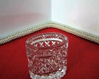 VINTAGE CZECH GLASS Toothpick Holder Cut Crystal 1920s Polished Bottom Gift Wedding Anniversary Bridal