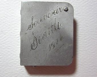 Antique Aluminum Souvenir Stamp Case Seattle 1906