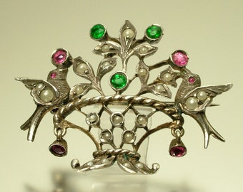Antique/ estate Edwardian/ Art Nouveau, European 935 silver, seed pearl and paste, flower basket / bird pin/ brooch - jewelry jewellery