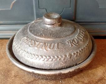 Vintage Stoneware Pottery, Superstone Chestnut Roaster, Baker, Sassafras, Brown Glazed Pottery, Kitchen, Primitive, Rustic