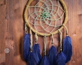 Dream Catcher - Dark Forest No.1. - Boho Dreamcatcher with Transitional Brown-Green Web and Deep Blue Feathers - Mobile, Nursery Decor