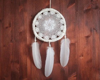 Dream Catcher - Summer Flower - With Vintage Crochet Web and White Feathers - Boho Home Decor, Nursery Mobile