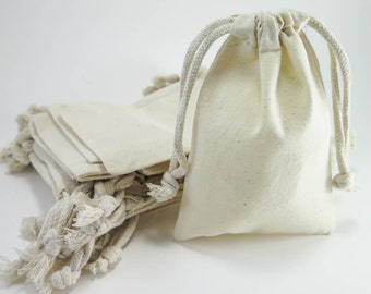 Muslin Bags | 25 Medium Cotton Muslin Bags Pouches (4 by 6 inch) Gift Bags, Natural Cotton Favor Bags, Packaging