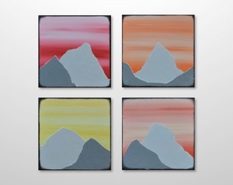 Original Mountain Painting Canvas Multiple Panel Abstract Art - Orange Red Yellow Square Landscape Texture Painting - Home Decor Wall Art