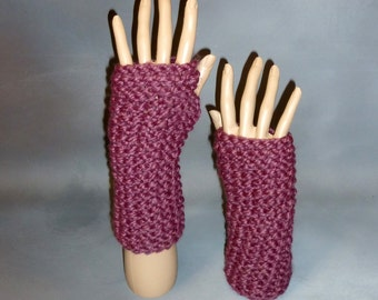 Fingerless Gloves; Hand Knit Bulky Finger Free Mitts, Wrist Warmers - Fig, dark purple READY TO SHIP