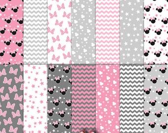 Minnie Mouse Pink Gray Light Gray Chevron Paper Set