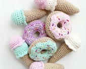 Private listing for Jaclyn P. donuts and ice cream cone crochet play food toys