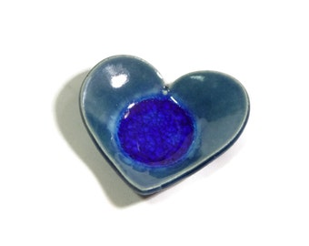 Ring Dish - Peacock Blue Heart with Royal Blue Melted Glass- Tea Trivet and Spoon - Tea Bag Holder - Tea Ball Rest