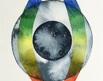 "Original Watercolor Painting, ""Full Moon Vision"""