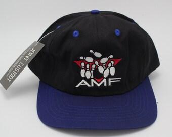 Vintage AMF Bowling Hat Adjustable Dad cap headwear sport bowling alley novelty vtg lane purple