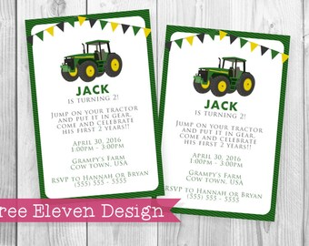 Tractor PRINTABLE Birthday Invitation