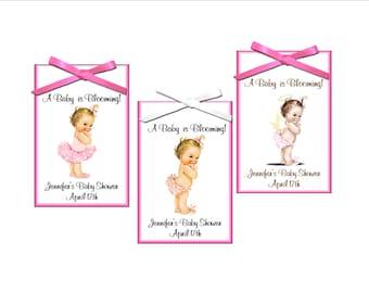Seed packet favor - baby girl shower favor, vintage princess, ballerina - set of 12 seed packets