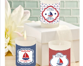 Baby shower candle favors -nautical theme baby shower candle favors - personalized baby shower candle favors - set of 12
