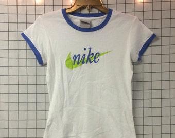 Vintage Nike Blue & White Ringer Logo T-Shirt