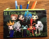 Disney Villains Cosmetic Bag - Disney Villains Pencil Bag - with Maleficent, Ursula, The Evil Queen, Jafar, Gaston, Hades, Hans and more!