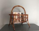 FREE SHIPPING! Rattan magazine rack, vintage rattan basket