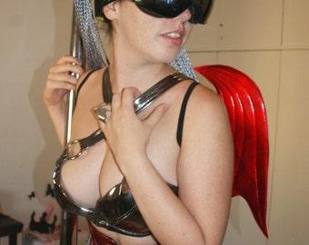 RED bat wings  in metallic shinny  p.v.c  r. Black Elastic rubber in the shoulders fallen angel wings red