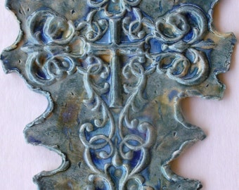 Blues Purple Cross Multi Glazed Large Wall On Sale