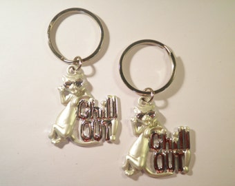 "2 Silverplated ""Chill Out"" Kitty Cat Key Rings Key Chains"