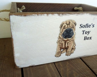 Personalized Country Rustic Dog Toy Box Crate